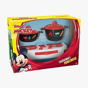 Fogãozinho e Panelinhas Mickey com 5 Peças Mielle Brinquedos