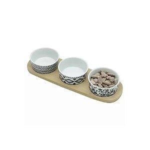 Conjunto de Petisqueira Cerâmica 4 peças LYOR