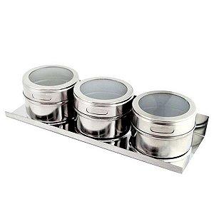 Porta Condimentos Magnético 3 Peças Aço Inox CK1257 Clink