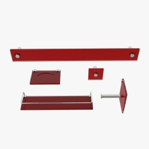 Kit Acessórios para Banheiro Vermelho Barroco 5 Peças VMEX