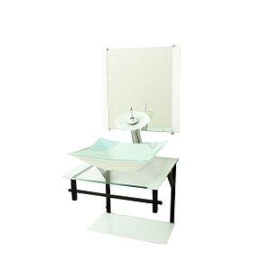Conjunto Gabinete Vidro 40cm com Cuba Retangular Branco VMEX