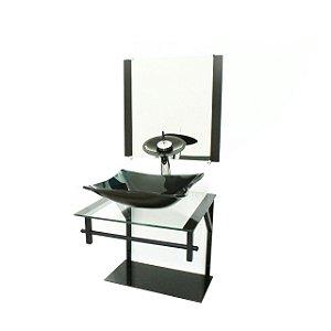 Conjunto Gabinete Vidro 40cm com Cuba Retangular Preto VMEX