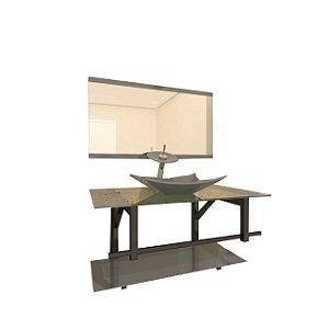 Conjunto Gabinete Vidro 70cm com Cuba Retangular Prata VMEX
