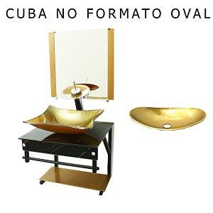 Conjunto Gabinete Vidro 70cm Cuba Retangular Preto Gold VMEX