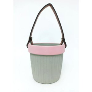 Vaso de Concreto Leather Hold Mini Rosa 9x8x8cm Urban