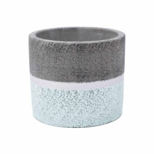 Vaso Concreto Dual Line Colors Cinza/Verde 12x12x11cm Urban