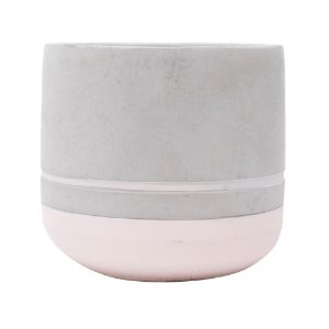 Cachepot Concreto Color Stripe Rosa 12x12x11cm Urban