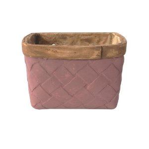Vaso Concreto Square Fake Basket Roxo 16x12x11cm Urban
