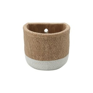 Vaso Concreto Natural Fibre Rope Hole Bege e Branco Urban