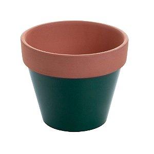 Vaso de Cerâmica Terracota Colar Verde Peq 8x8x7cm Urban