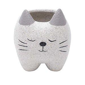 Cachepot Concreto Sleeping Cat Cinza 11x10x11cm Urban