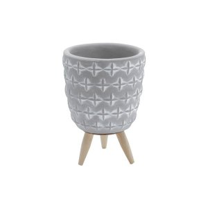 Cachepot Concreto Embossed Flowers Cinza 9x9x13cm Urban