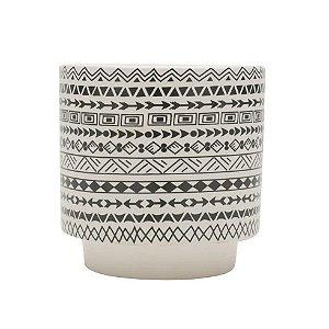 Cachepot Cerâmica Aztec Native Branco 11x11x10 Urban