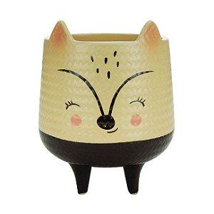 Cachepot Cerâmica Cream Rattan Fox Bege 9x9x11 Urban