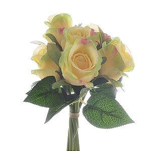 Buquê de Rosas Claras e Salmon Permanentes 33 cm Bela Flor