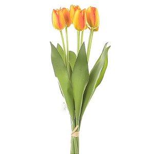 Buquê Tulipa Laranja Permanente 40 cm Bela Flor