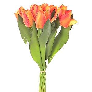 Buquê Tulipa Laranja Permanente 43 cm Bela Flor