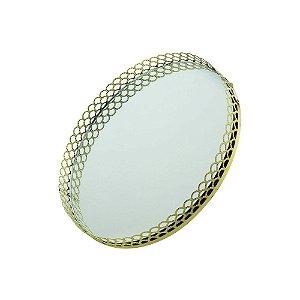 Bandeja Metal Redonda com Espelho Dourado 20x20x3 cm Urban