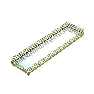 Bandeja Retangular com Espelho Dourado 28x9x3 cm Urban