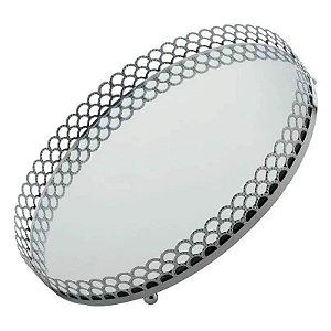 Bandeja Metal Redonda com Espelho Prata 20x20x3 cm Urban