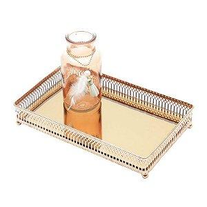 Bandeja Quadrada com Espelho Rose Gold 25x25x5cm Urban