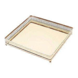 Bandeja Quadrada com Espelho Rose Gold 25x15x4cm Urban