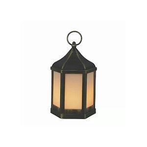 Lanterna Fumê Preta e Dourada 15x23x15 cm Studio Collecttion