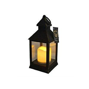 Lanterna com Led Preta Envelhecida Studio Collecttion