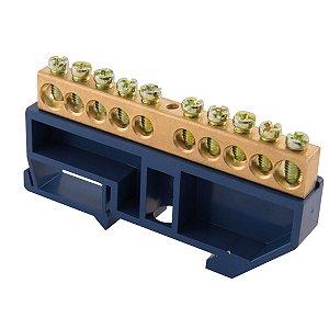 Barra de Neutro DIN 10 Ligações c/ Suporte Tramontina
