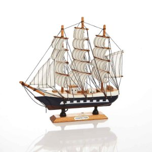 Decoração Barco de Madeira Colorido 27x26 cm Bela Flor