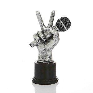 Adorno Vibes Microfone Prata 17x25x9 cm Bela Flor
