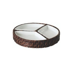 Petisqueira Redonda Bambu com Porcelana 24x4 cm Mundiart