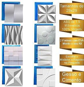KIT 8 FORMAS GESSO 3D ABS COM EVA PROMOÇÃO