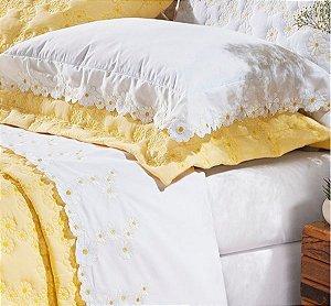 Margaridas- Jogo de cama bordado Queen - 200 fios - 100% algodão