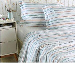 Listras e mais listras - Jogo de cama - 4 peças - 100% algodão - 180 fios