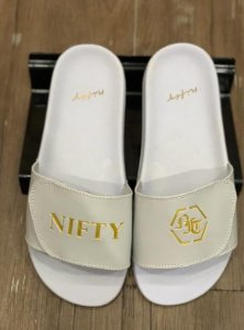 Chinelo Nifty Velcro White/Golden