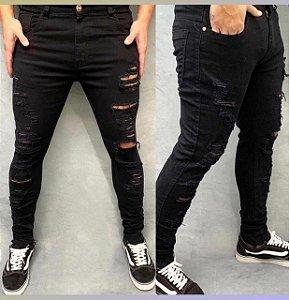 Calça Jeans Creed Preta Rasgos