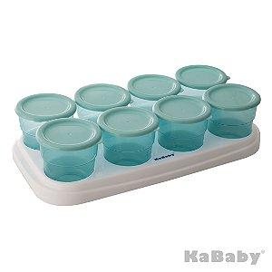 Potinho de papinha 70ml para armazenar alimentos c/ 8 unidades (Azul) - Kababy - Cód. 1311A