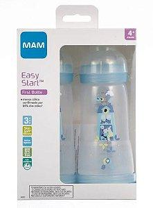 Kit 2 Mamadeira MAM Easy Start (Azul) 320ml - Anti-cólica e Auto-esterilizável