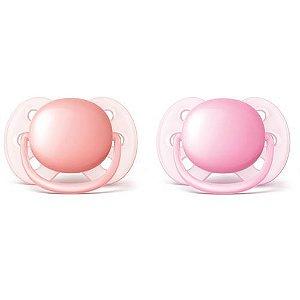Chupeta Avent Ultra Soft 0 a 6 meses (pack com 2 uni) rosa - SCF213/20 - Philips Avent