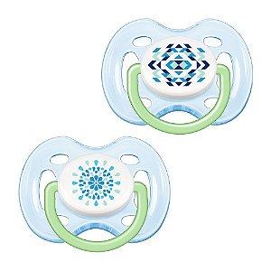 Chupeta Avent Freeflow Contemporânea 0 a 6 meses Dupla (pack com 2 uni) Azul decorada - SCF180/23 - Philips Avent
