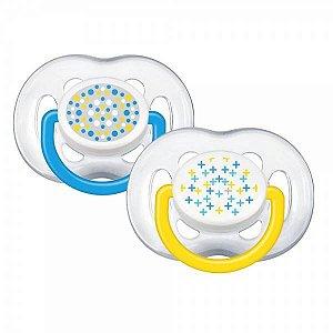 Chupeta Avent Freeflow Contemporânea 6 a 18 meses Dupla (pack com 2 uni) Azul e amarela - SCF180/24 - Philips Avent
