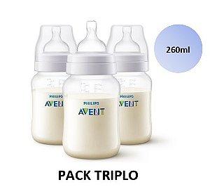 Mamadeira Avent Clássica Anticólica PACK TRIPLO 260ml - SCF813/37 - Philips Avent