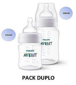 Mamadeira Avent Clássica Anticólica PACK DUPLO 125ml e 260ml - SCF372/01 - Philips Avent