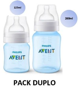 Mamadeira Avent Clássica Anticólica PACK DUPLO 125ml e 260ml (Azul) - SCF809/37 - Philips Avent