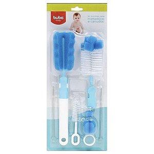 Escova de mamadeira e canudos Kit 6 peças (Azul) - Buba - Cód. 7290
