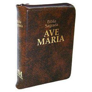 Bíblia Sagrada Ave Maria Bolso Zíper - Marrom