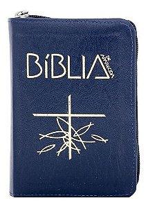 Bíblia Sagrada de Aparecida - Bolso Zíper Azul