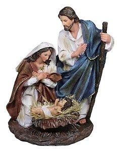 Presépio de Natal Sagrada Família 30 Cm - Resina Importado T