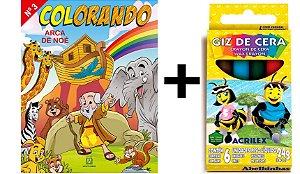 Livro Colorando Arca de Noé + Giz de Cera Grátis !!!